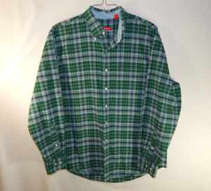 IZOD-Long-Sleeve-Mens-Casual-Button-Down-Dress-Green-Plaid-Shirt-Size-LARGE-L