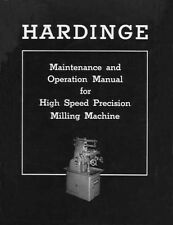 Hardinge High Speed Precision Milling Machine Manual