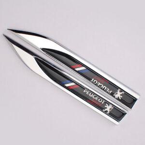 2x-Peugeot-Spot-Black-Fender-Badge-Side-Wing-Metal-Sticker-Badge-3D-Logo