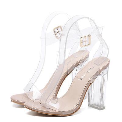 Hot Women Summer Casual Perspective Sandals Heels Transparent Sandals shoes USDH