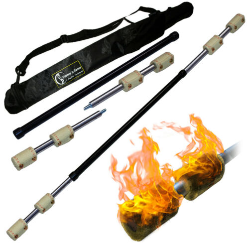 travel Bag 140cm 4 x 65mm wicks Fyrefli 3 piece Travel Fire Staff