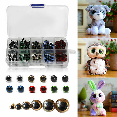 100pcs 8//10//12mm Plastic Safety Eyes for Teddy Bear Doll Animal DIY 4 Colors