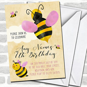 Girls Bumble Bee Cloud Children's Birthday Party Invitations