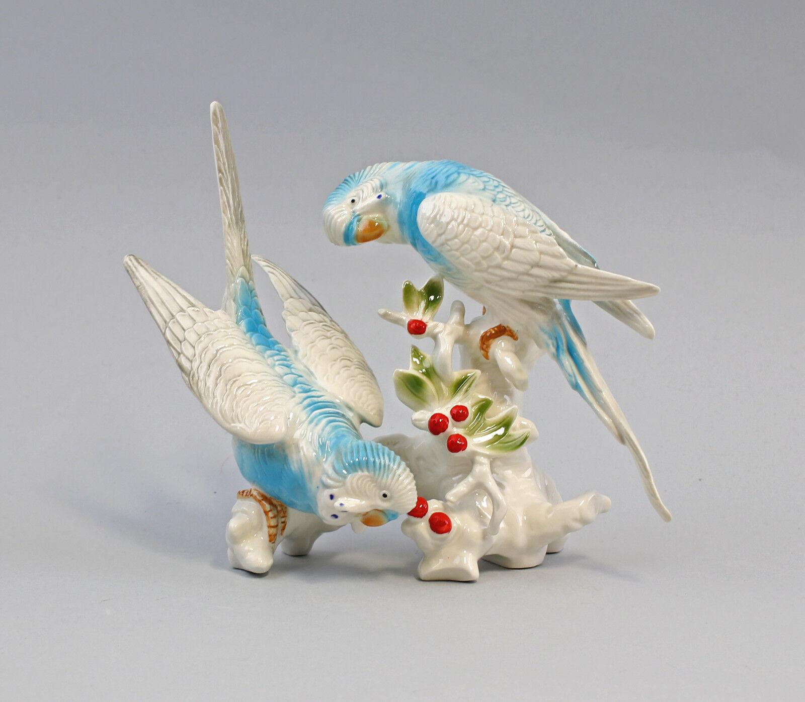 9959366 Porzellan Ens Figur Wellensittich-Paar türkis weiß 16x18cm