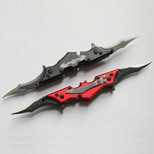 Folding-Knife-Fashion-Batman-Knife-Two-Dual-Blades-Pocket-Knife-NEW-Survival