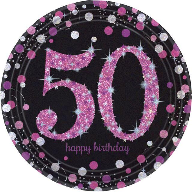 Rosa Celebración 50 Prismático Platos de Papel 23cm - Pack 8