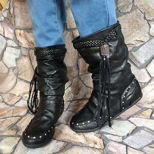 Stiefeletten-Ankle-Boots-Stiefel-Nieten-Fransen-Schwarz-Gr-37