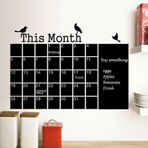 Diy Chalk Blackboard Wall Sticker Decor Monthly Plan Calendar