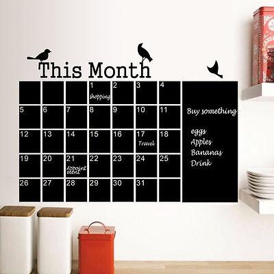 Monthly Planner Calendar Blackboard Removable Wall Sticker Chalk Board Decal