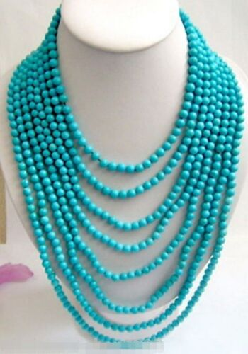 """Long 100/"""" Tibet Small 6mm Turquoise Beads jewelry Necklace"""