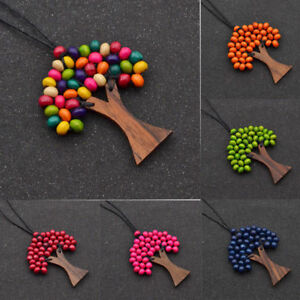 New-Tree-of-Life-Beaded-Necklace-Wooden-Pendant-70-80cm-Adjustable-Cord-Jewelry