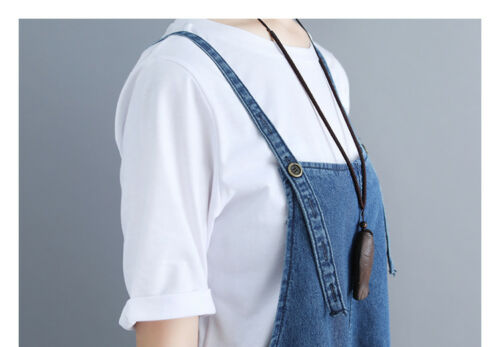 Womens Casual Denim Overalls Bib Suspenders Pants Wide Leg Jumpsuits Jeans Loose