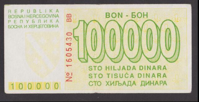 BOSNIA 100000 100 000  Dinara 1993  VF  P31a  Siege of SARAJEVO war time issue*