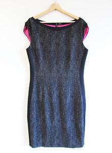 Elie-Tahari-Size-14-16-Black-Beige-Tweed-Illusion-Sheath-Career-Pink-Lined-Dress