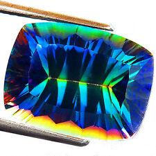 10.65ct Lab-created RAINBOW MYSTIC TOPAZ QUARTZ CUSHION GEMSTONE topaze mystique