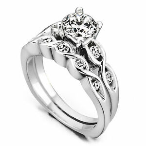 1-00-Ct-Diamond-Engagement-Wedding-Rings-Solid-14K-White-Gold-Size-J-Band