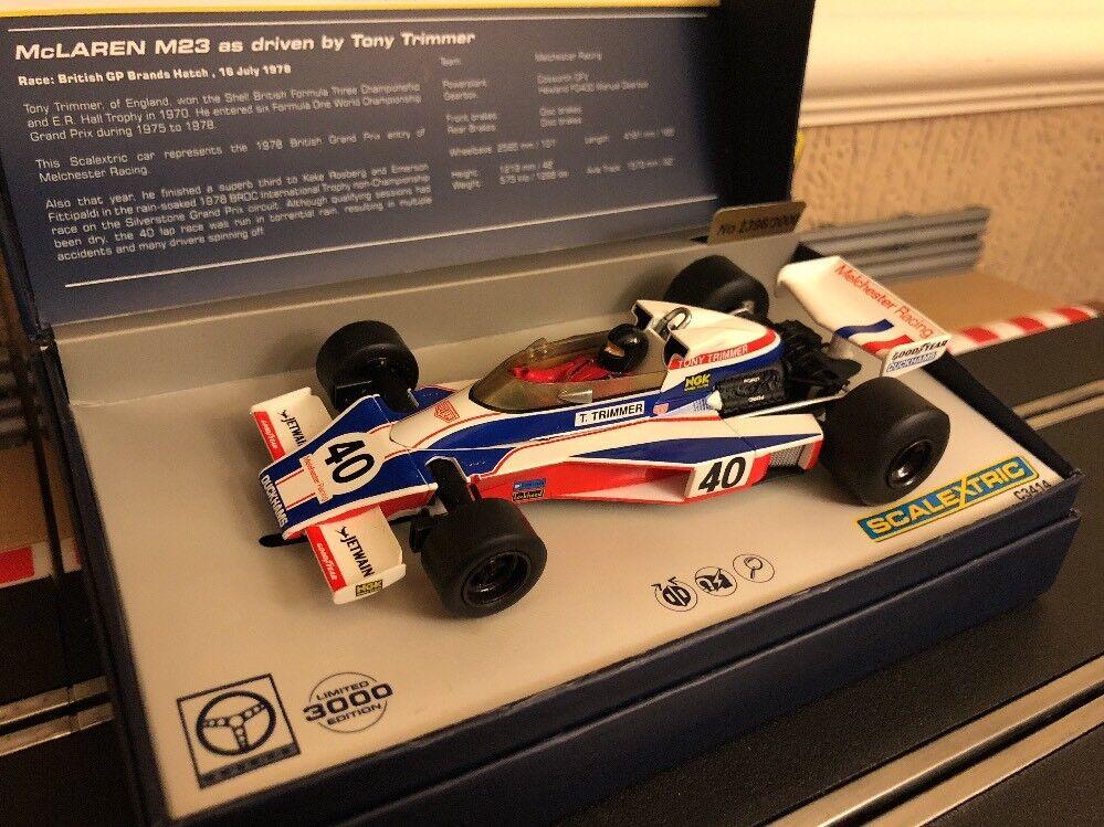 Scalextric Digital McLaren M23 British GP 1978 TONY TRIMMER EDIZIONE LIMITATA NUOVO