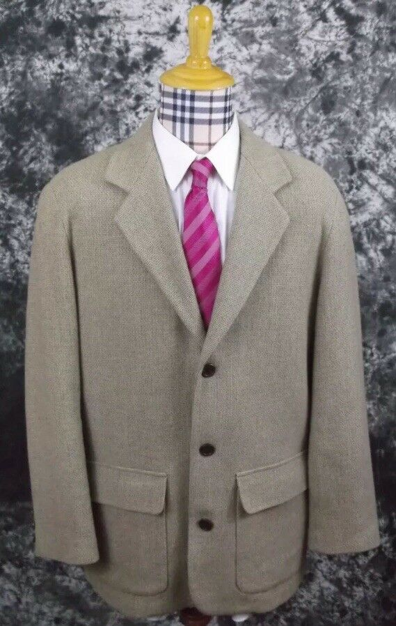 Mens L Giorgio Armani 3 Button Beige Wool Blend Sports Coat