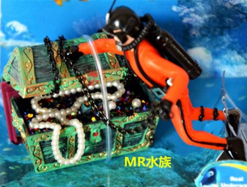 Fish Tank Ornament Hunter Diver Treasure Figure Action Aquarium Decor DDN