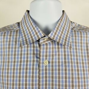 David-Donahue-Mens-Blue-Brown-Check-Plaid-Dress-Button-Shirt-Sz-17-5-36-37