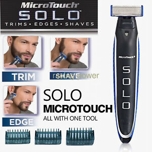 Micro Touch SOLO Rechargeable Trimmer Razor Shaver Edges Men With 3 Combs Gift
