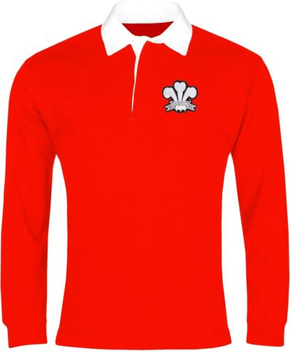 Wales National Rugby Long Sleeve Shirt Sizes SXXL Embroidered Logo