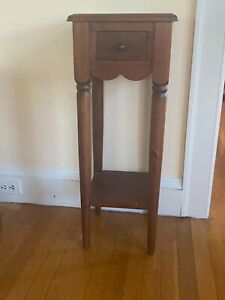 Tall-Wooden-Plant-Stand-with-Drawer