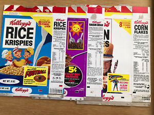 Original 1970s Kelloggs cereal box group w Superman and other offers exc cond