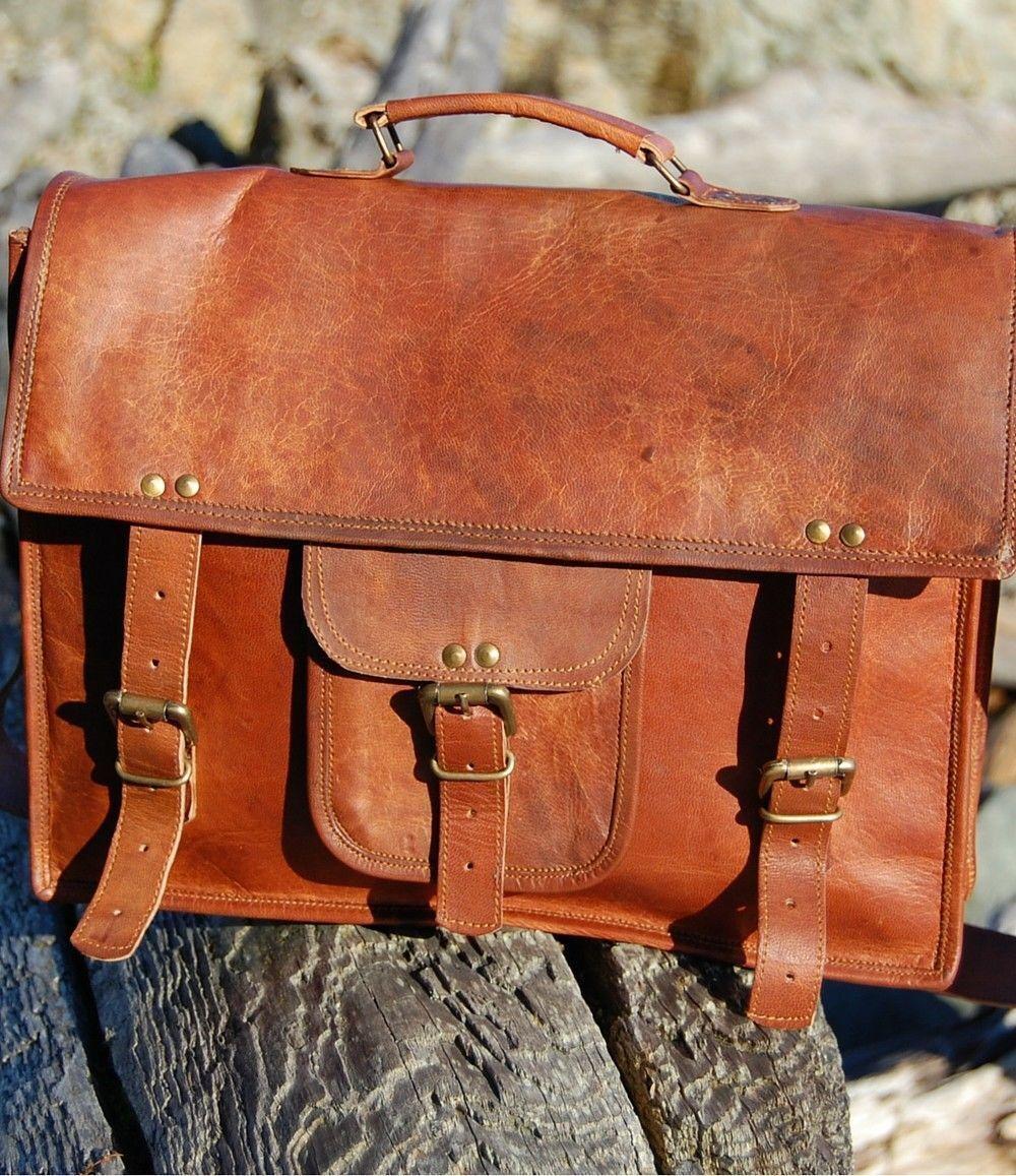 Herren starke Laptop Aktentasche Leder Vintage braun Messenger handgemachte  | Hochwertige Produkte