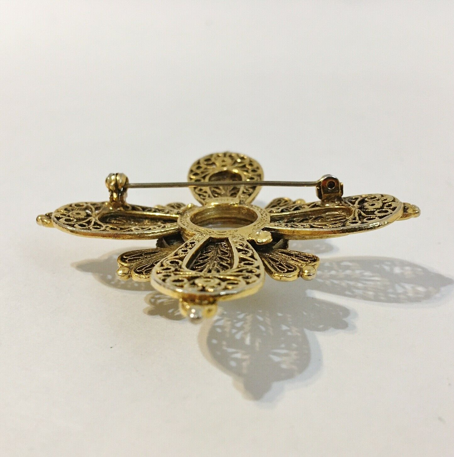 Avante Pin Brooch Vintage Faux Pearl Layered Orna… - image 5