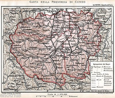 Cartina Geografica Provincia Di Firenze.Provincia Di Cuneo Carta Geografica Cromolitografia Passepartout 1891 Ebay