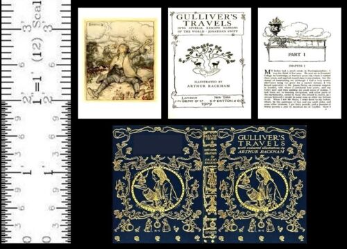 1:6 SCALE MINIATURE BOOK GULLIVER'S TRAVELS ARTHUR RACKHAM BARBIE PLAYSCALE