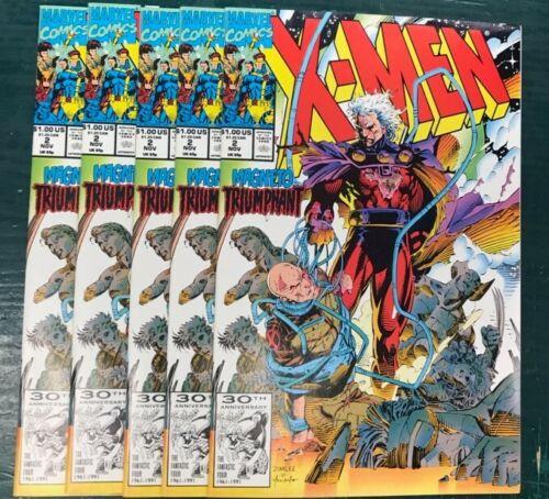 5 LOT X-MEN #2 Magneto Triumphant VF-NM 1991 Series Jim Lee