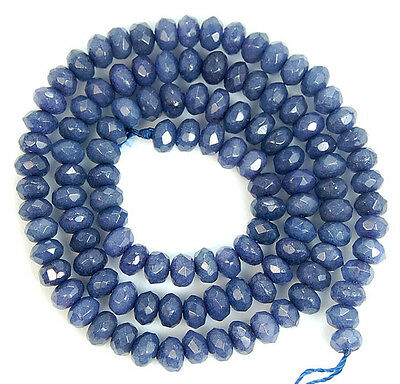 """3x5mm Faceted SteelBlue Jade Rondelle Beads 15"""""""