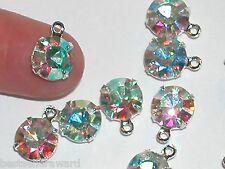 2pc Lot Swarovski AB Rainbow crystal hoop bail dangle Pendant charm 39ss 9mm lg