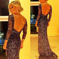 New Black Women Long Formal Prom Dress Cocktail Party Ball Gown Evening Dress