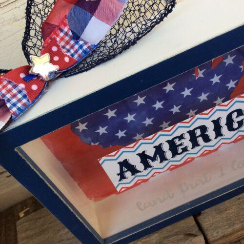 America Land That I Love Box Shadow Sign AGD Patriotic Decor