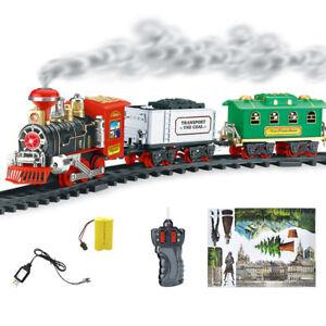Remote-Control-Conveyance-Car-Electric-Steam-Smoke-RC-Train-Set-Model-Kids-Toys