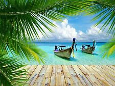 ART PRINT POSTER PHOTO TROPICAL ISLAND PIER BOATS OCEAN LFMP0517
