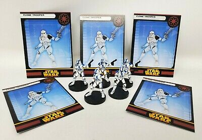 "Wizards Coast Star Wars Miniature Lot of 5 Sith Trooper /& Commander 1.5/"" RPG EUC"