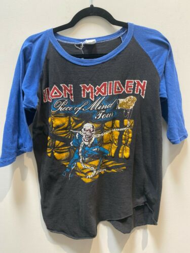 Vintage Iron Maiden Piece of Mind Baseball T-shir… - image 1