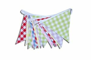 Wide Check Gingham Bunting Multi Colour 100% Cotton Double Sided Flags New