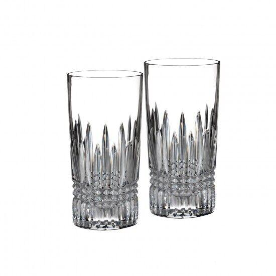 Waterford Crystal Lismore Diamond HiBall Bar Glass Set of Two Pair (2) New