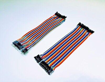 40 pz Dupont cavo  Wire Ribbon Jumper Cables 20cm F-F F-M Arduino Breadboard