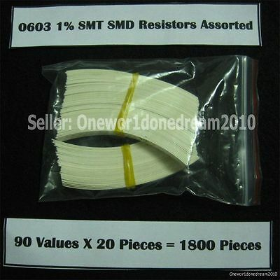 Lot of 1800 Pieces 0603 1% SMD SMT Resistor Assortment Kit Assorted Value Pack