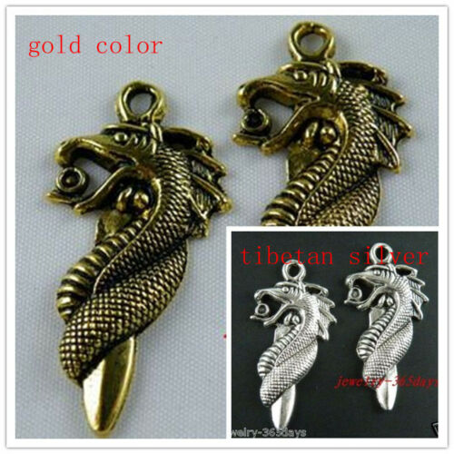 15pcs Tibetan Silver//Gold Color Dragon Charms 42x21mm 1410