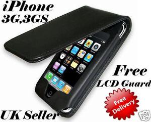cuire-etui-pour-APPLE-iPHONE-3GS-3G-Gratuit-protecteur-ecran-LCD-GB