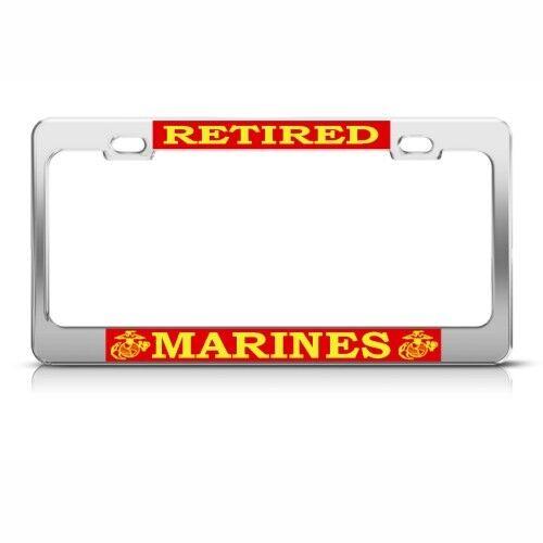 U.S MARINES RETIRED METAL MILITARY License Plate Frame Tag Holder