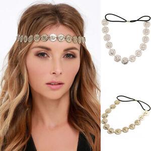 Women-039-s-Coin-Turban-Headband-Hairband-Elastic-Crystal-Pearl-Hair-Accessories