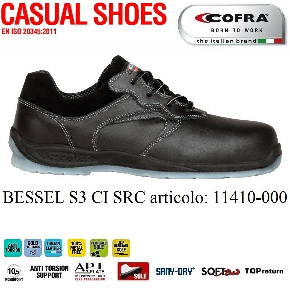 Scarpa antinfortunistica Cofra BESSEL S3 CI SRC , Anti torsion Support, Cold Protection CI , protezione dal freddo , Italian Leather, Metal Free,